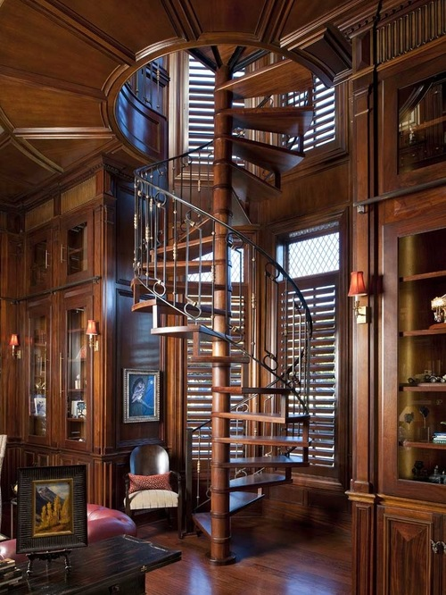 For the finale: the mother of all spiral staircases and a double-decker library. From houzz.com